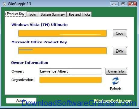 Aplikasi untuk Mencari Product Key di Windows WinGuggle