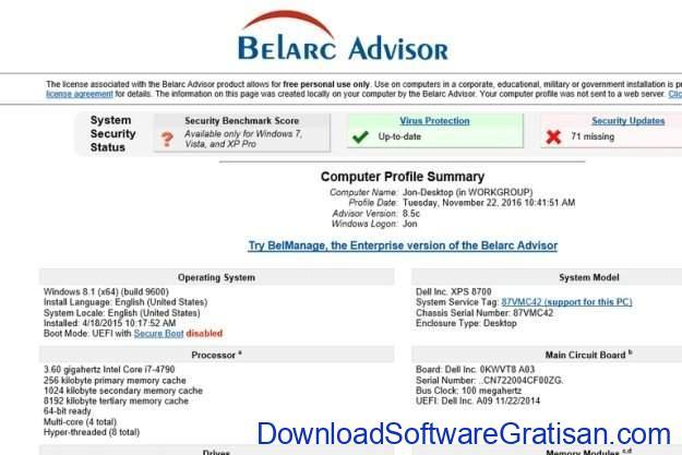 Aplikasi untuk Mencari Product Key di Windows 10 Belarc Advisor