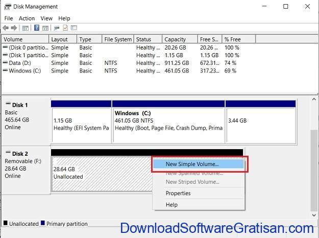 flash disk unallocated simple volume