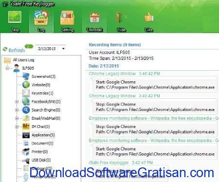 Aplikasi Monitoring Karyawan Gratis Terbaik untuk Windows iSafe Free Keylogger