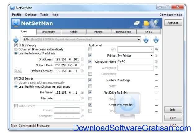 Aplikasi Gratis Terbaik Pengubah Alamat IP pada Windows NetSetMan