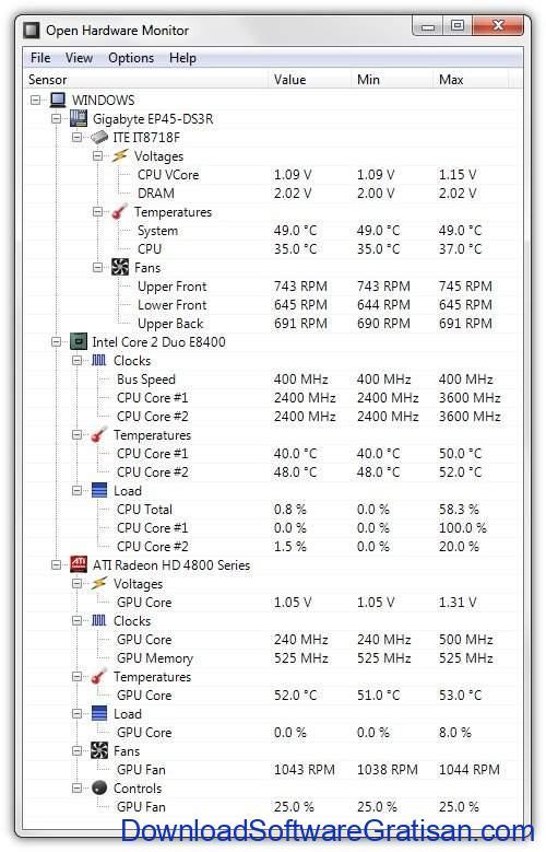 Aplikasi untuk Monitoring Performa PC Gratis Open Hardware Monitor
