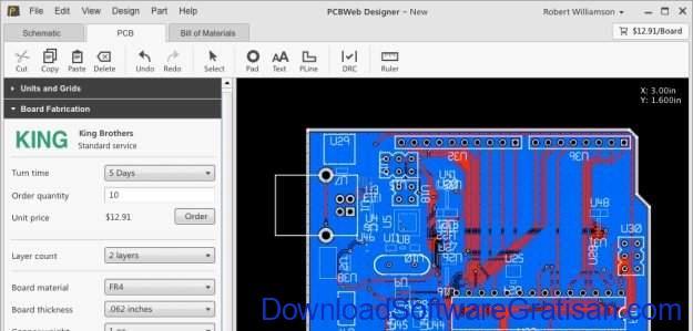 Aplikasi Gratis untuk Mendesain Sirkuit Digital pcbweb