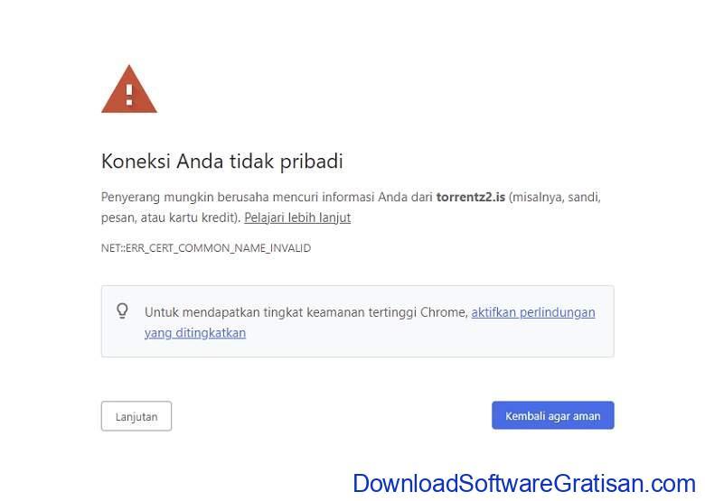 pesan kesalahan keamanan serius di browser