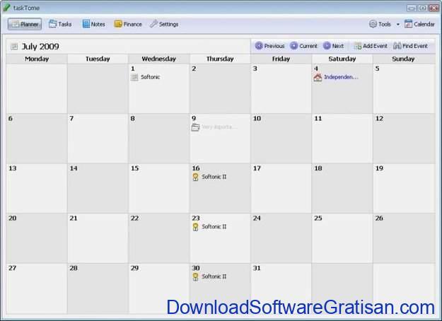 Aplikasi Kalender Gratis Terbaik untuk PC TaskTome