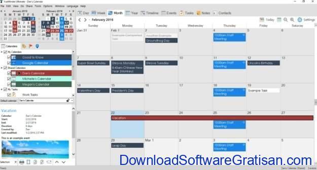 Aplikasi Kalender Gratis Terbaik untuk PC VueMinder Calendar Lite